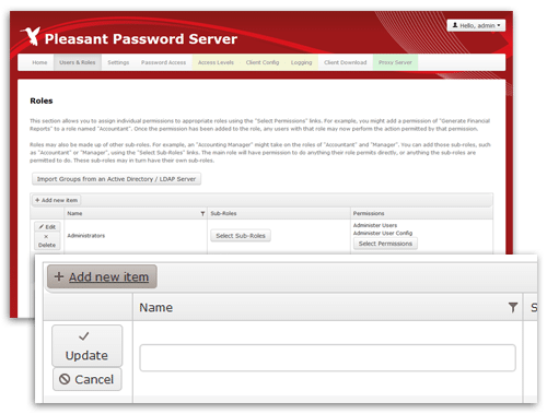 Passwort Manager weitere Rollen